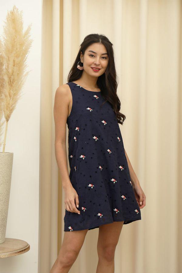 Meant Fleur You Embroidered Pocket Shift Dress Navy Blue