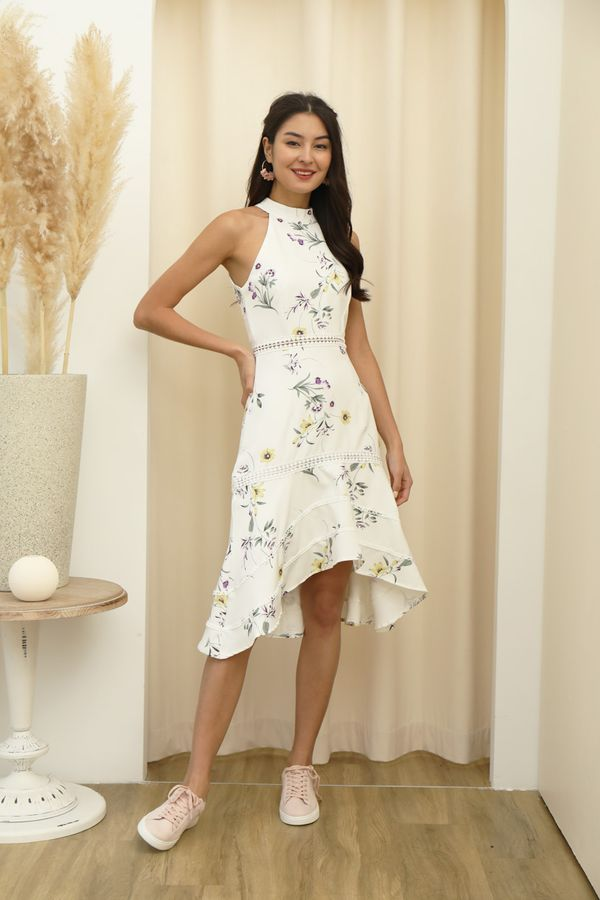 Highnecked Heirlooms Florals Midi Dress White