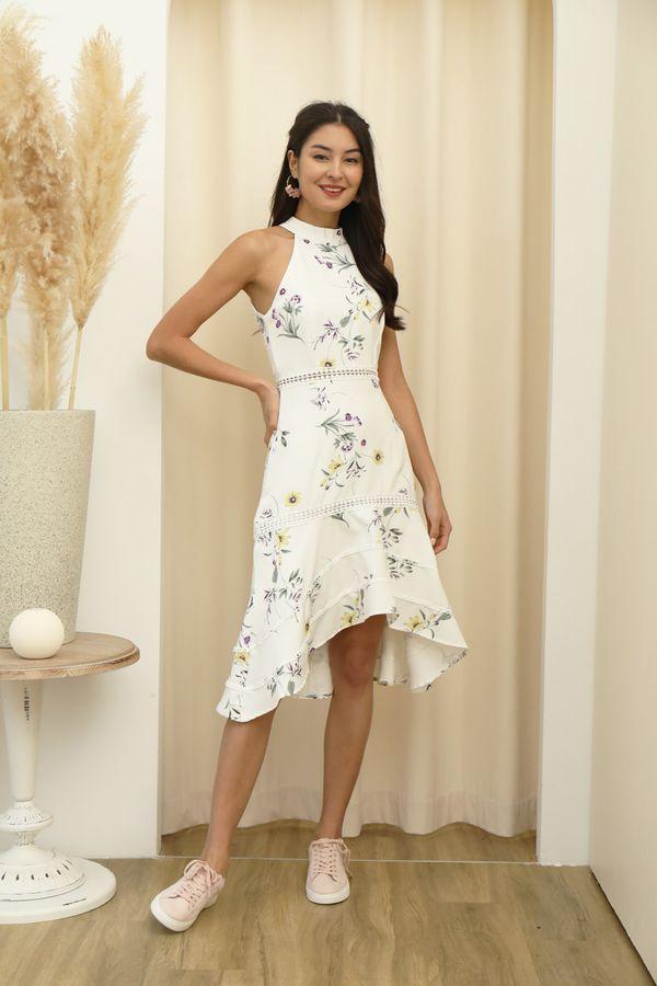 Highnecked Heirlooms Florals Midi Dress White