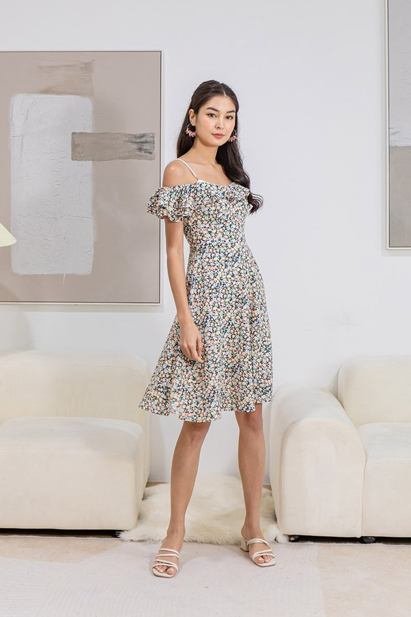 Buttercups on Pearls Floral Dress Navy Blue