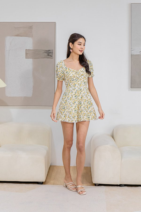 Presumably Paradise Twist Knot Floral Romper Yellow