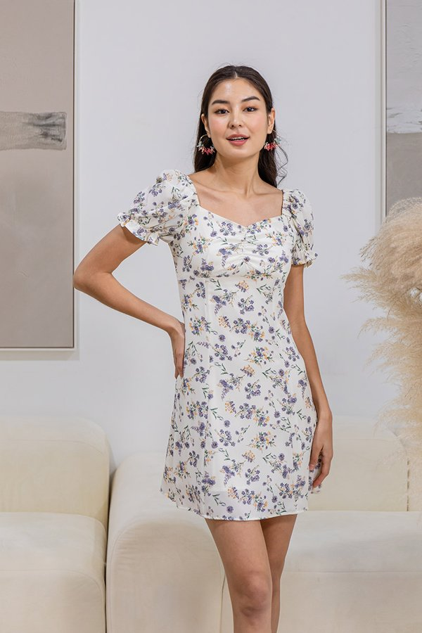 Promising Pastures Floral Ruched Milkmaid Dress Lavender