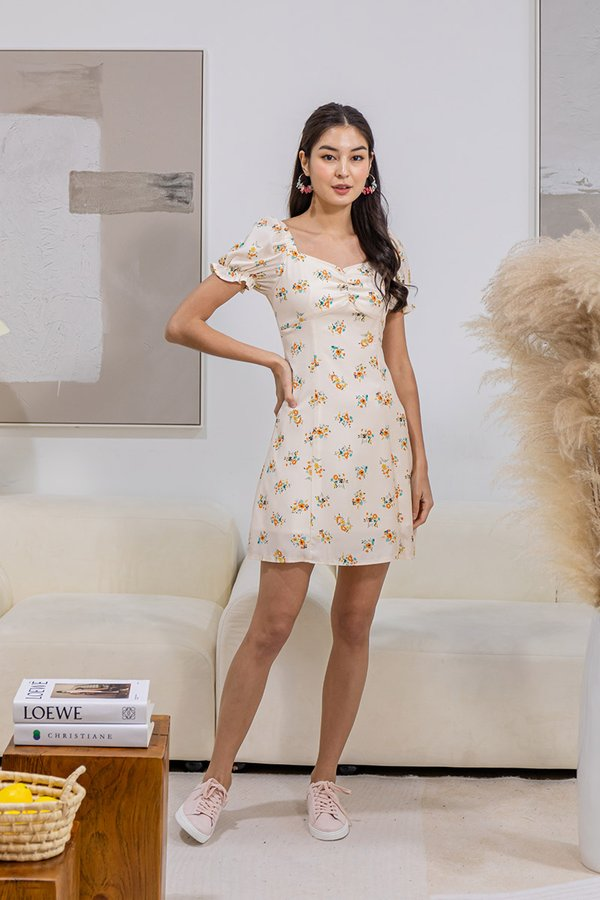 Promising Pastures Floral Ruched Milkmaid Dress Buttercup