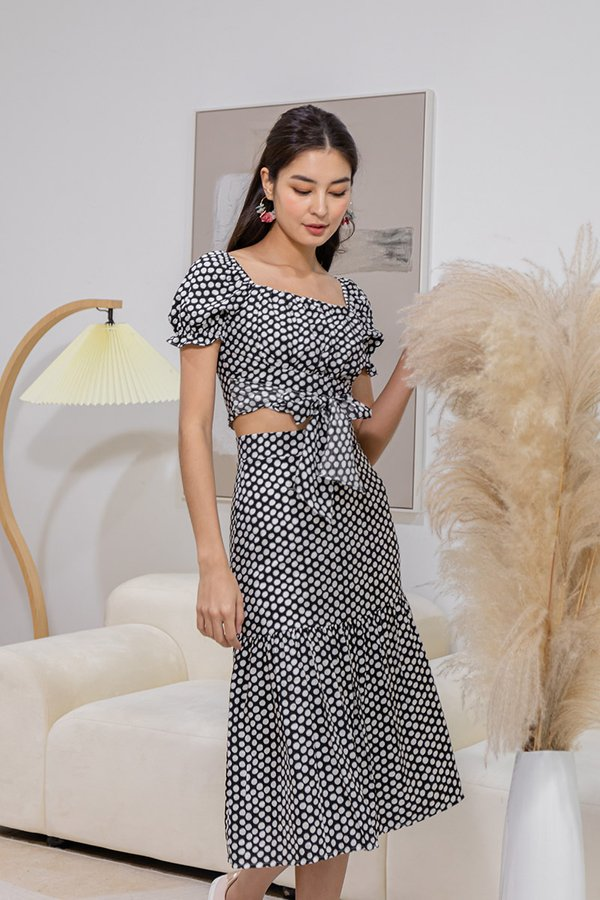 Spotted Sunset Soirees Polka Two Piece Midi Set