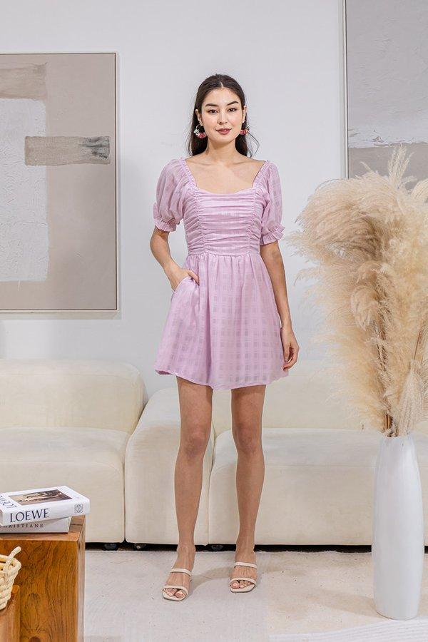 Channelling Audrey Tonal Plaid Babydoll Shirred Dress Lilac Pink