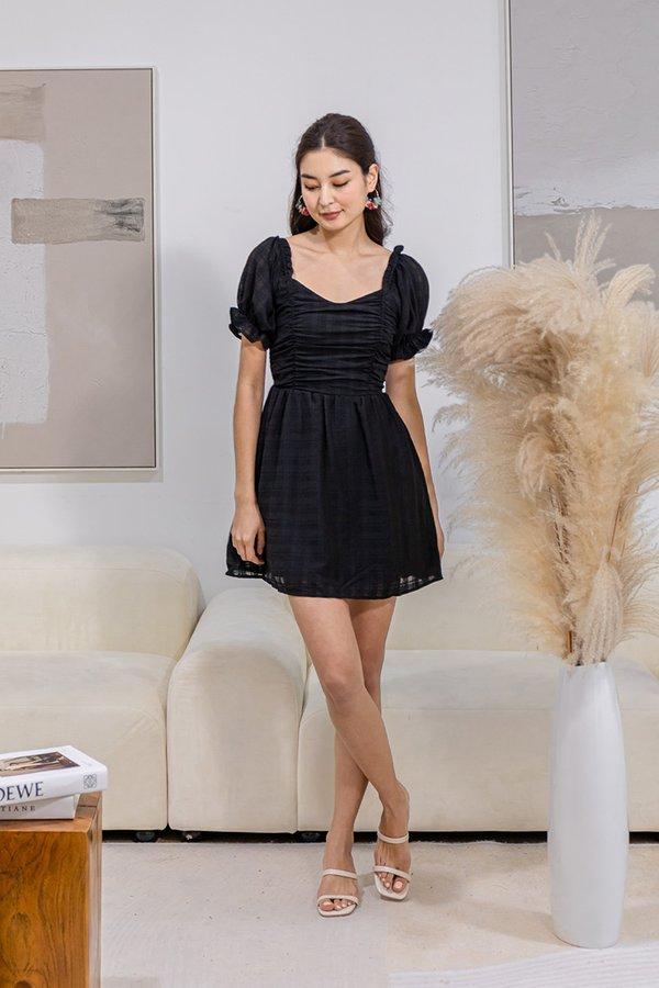 Channelling Audrey Tonal Plaid Babydoll Shirred Dress Black