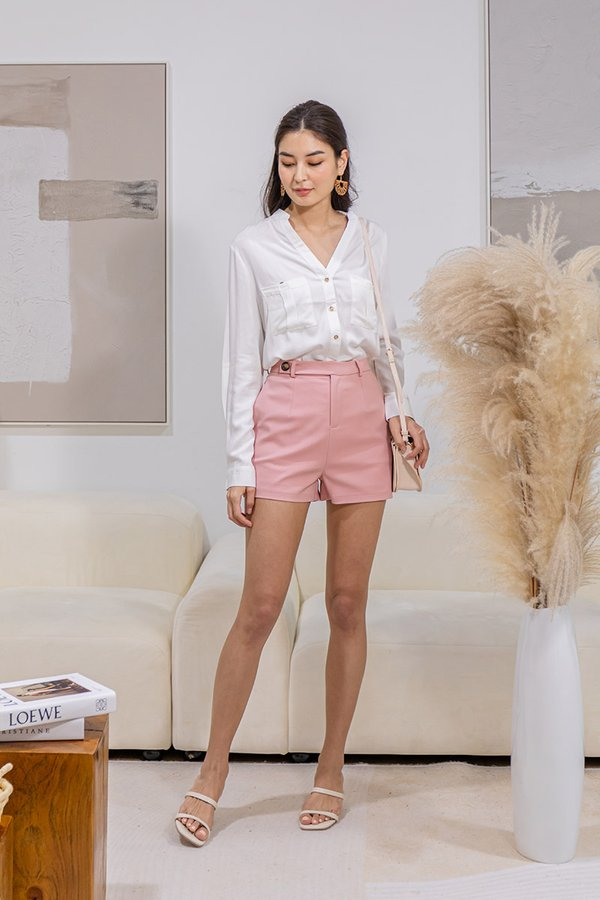 Profound Pairing Button Side Tab Shorts Pink