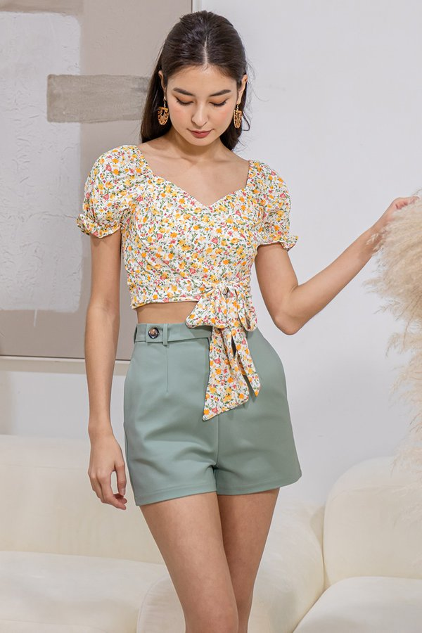 Profound Pairing Button Side Tab Shorts Green