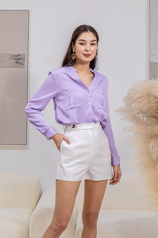 Profound Pairing Button Side Tab Shorts White