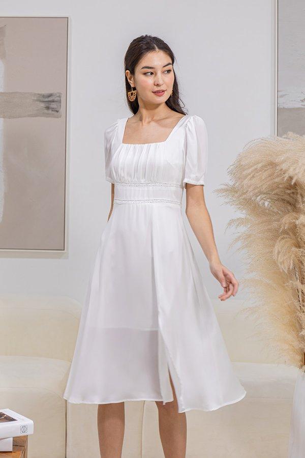 Beguilingly Blanc Square Neck Midi Dress