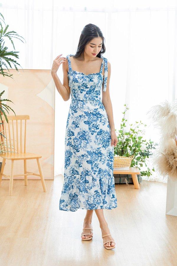 Blooming Porcelain Florals Dropwaist Maxi Dress