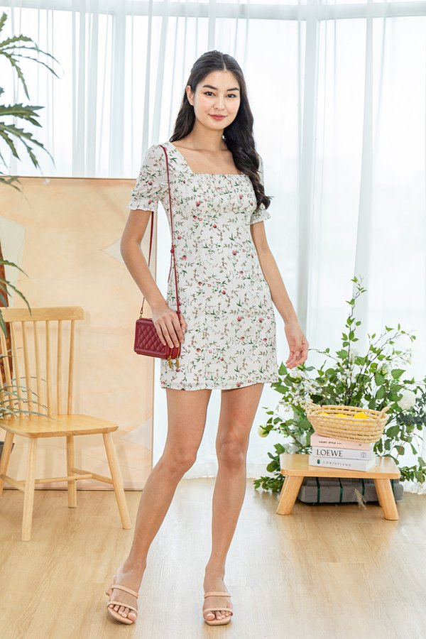 Primroses and Pleasantries Floral Ruched Dress White Roses