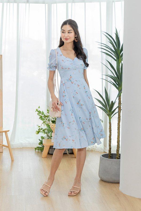 Melody of Flowers Slit Maxi Dress Sky Blue