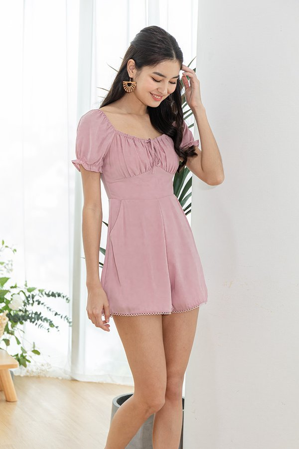 Shirring Reverie Tie Bust Romper Lilac Pink