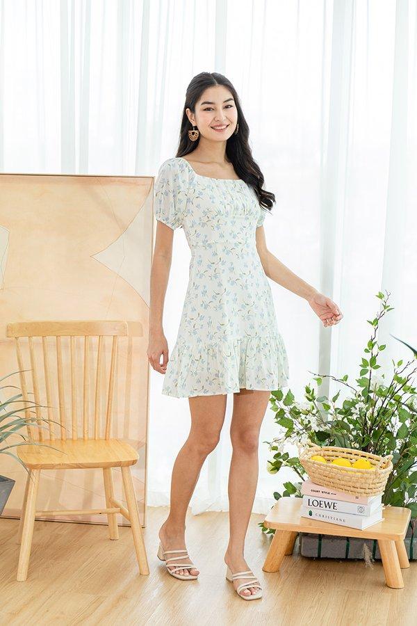 Sunlit Salutations Shirred Floral Dress White