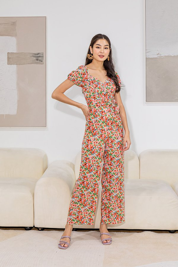 Boardwalk Blossoms Gathered Pleated Floral Jumpsuit Pink