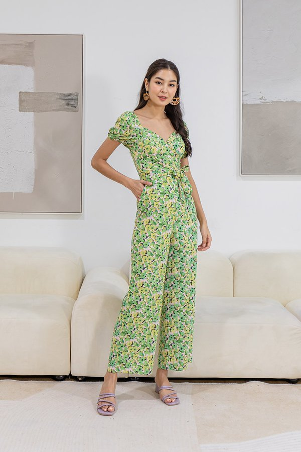 Boardwalk Blossoms Gathered Pleated Floral Jumpsuit Apple Green
