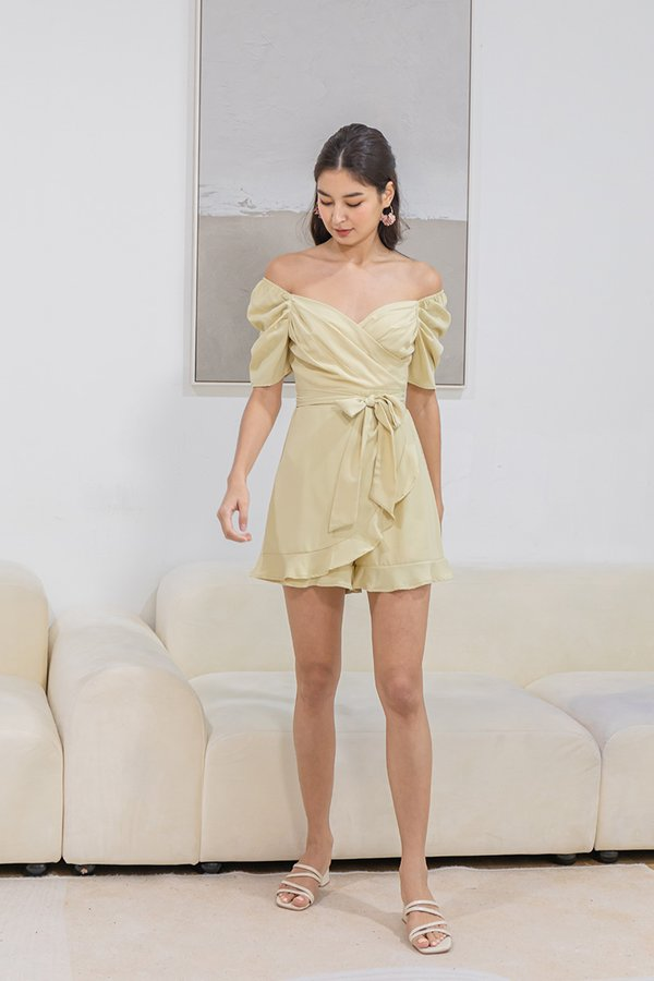 A Gala of Ruffles Gathered Wrap Romper Linden Green