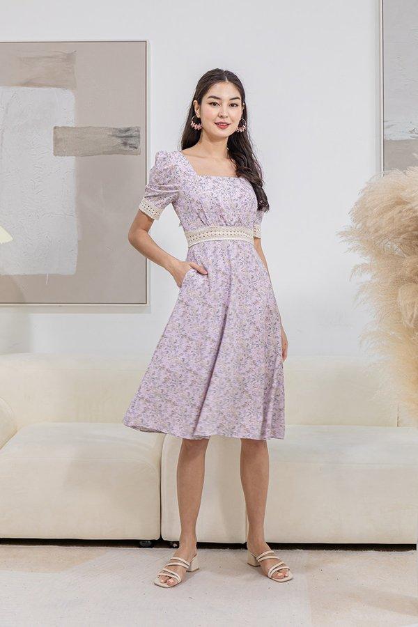 Boho on the Range Floral Midi Dress Lilac