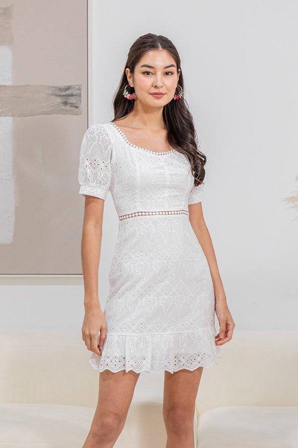 Nature Divine Eyelet Crochet Dress White