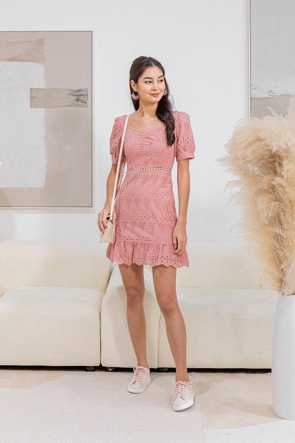 Nature Divine Eyelet Crochet Dress Pink