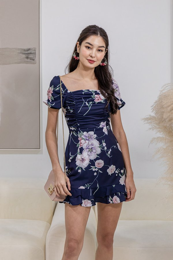 Ruching for Keeps Floral Ruffle Dress Navy Blue
