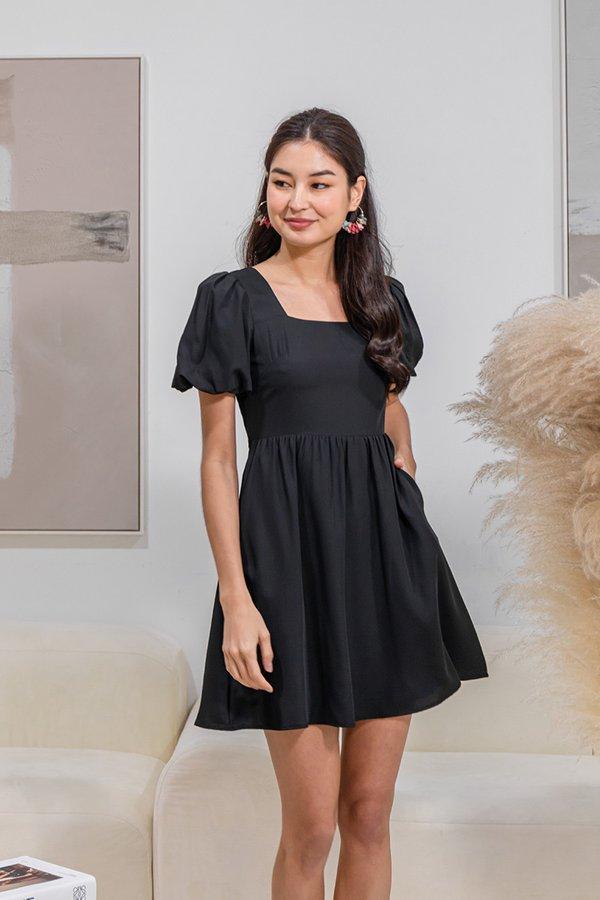 Bubbly Befitting Babydoll Dress Black