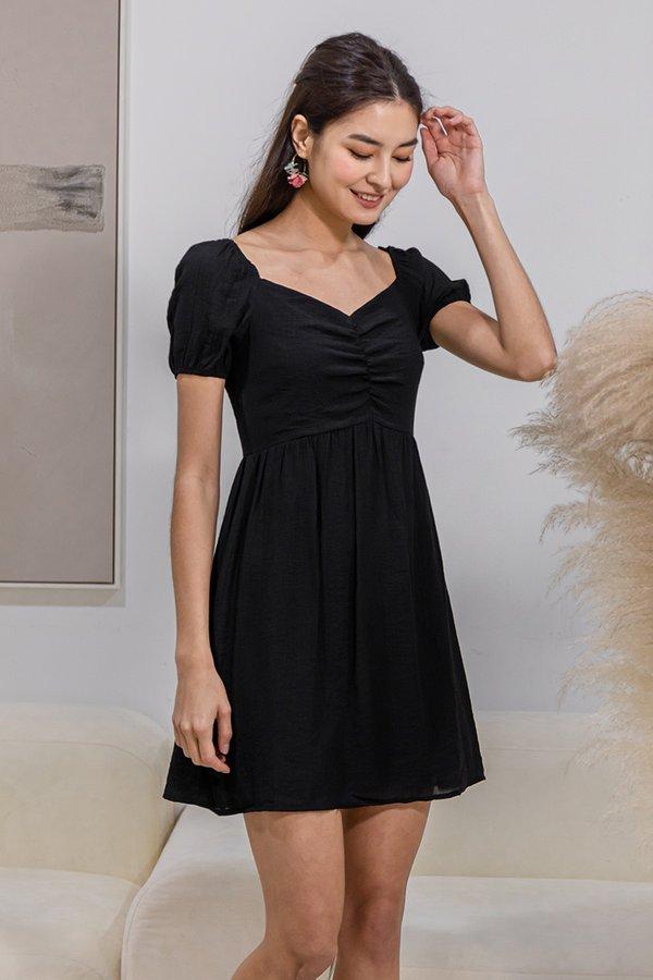 Sleek to Shorefront Ruched Dress Black