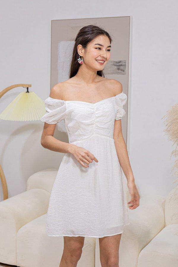 Sleek to Shorefront Ruched Dress White