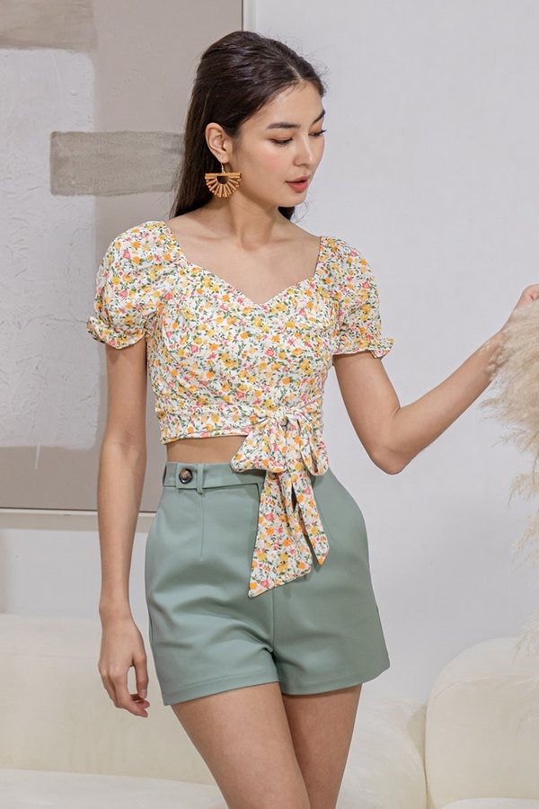 Sweet to the Crop Floral Tie Top Yellow