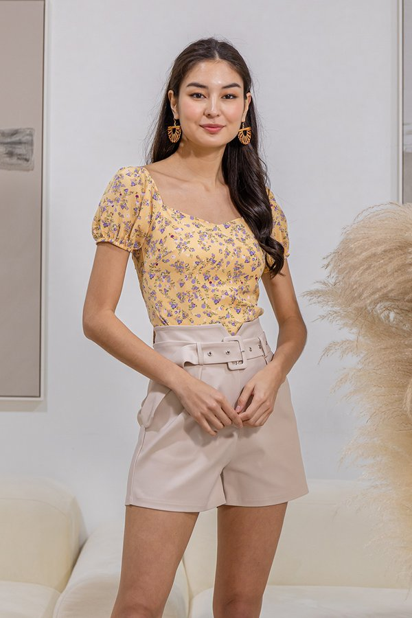 Sorbet Soaked Sweetness Tie Back Floral Top Yellow