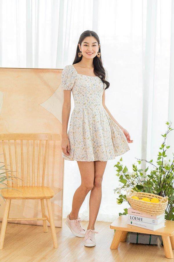Daisies on the Prairie Broderie Pleated Dress Cream