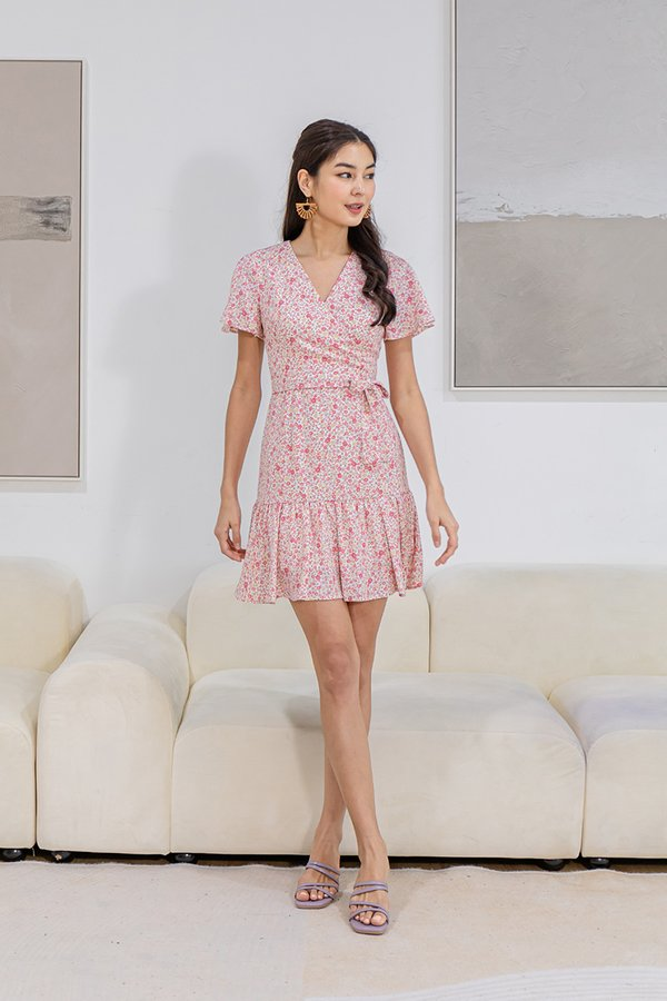 Whimsy Under Wraps Floral Ruffle Dress Pink