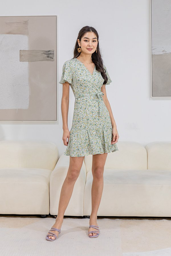 Whimsy Under Wraps Floral Ruffle Dress Sage Green