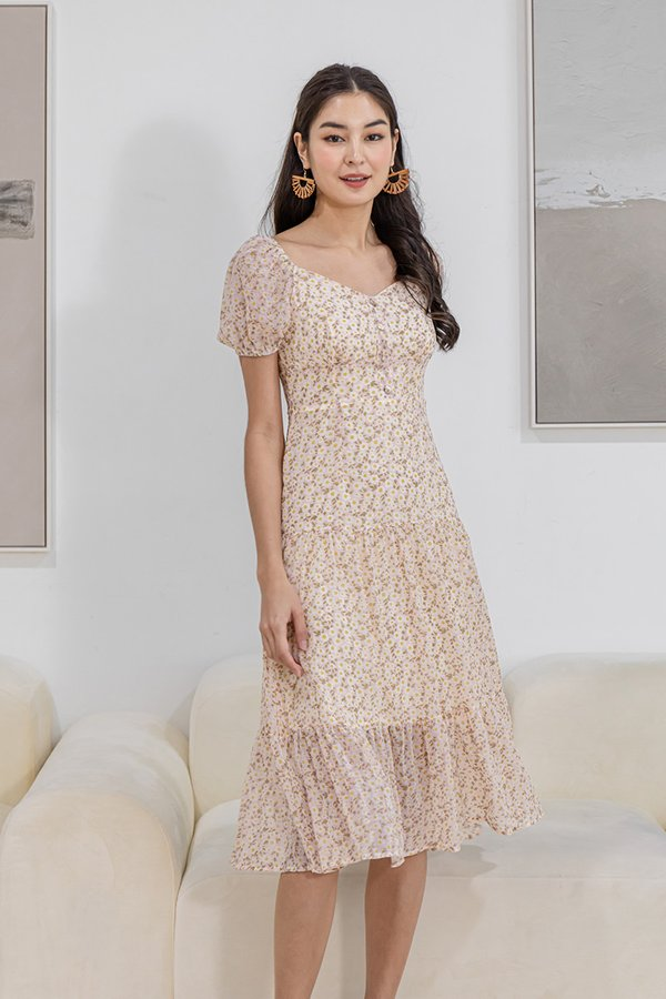 Beaming with Sunflowers Tier Midi Dress Blush Pink