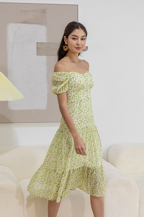 Beaming with Sunflowers Tier Midi Dress Apple Green