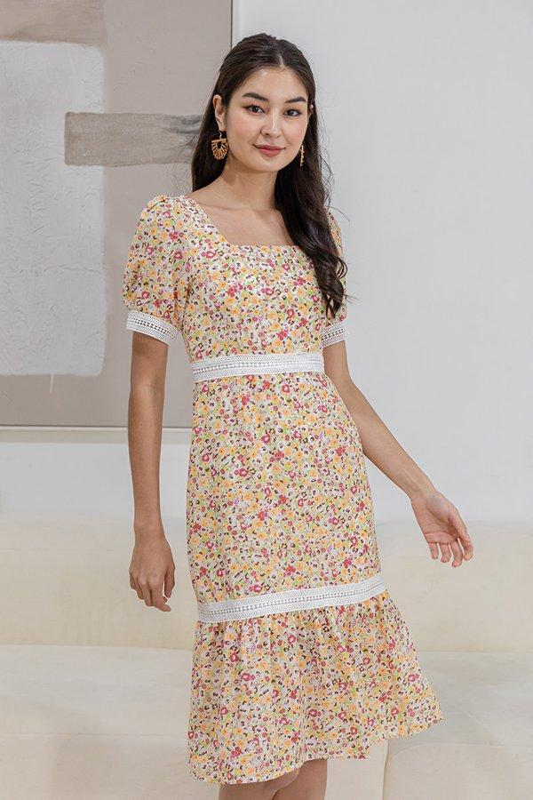 Primed for Day Tripping Floral Dress Citrus