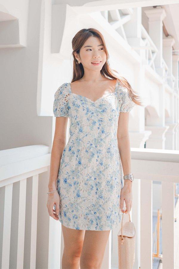 Cottagecore Camellias Floral Dress Blue