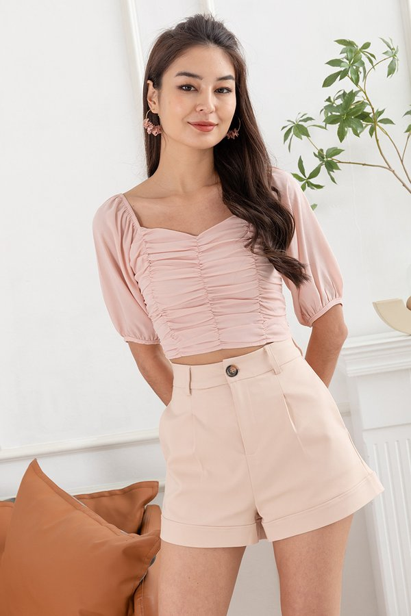 Delicacy of Drapes Ruched Blouson Top Pink