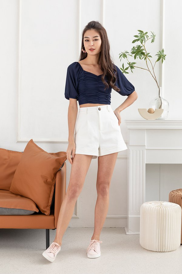 Delicacy of Drapes Ruched Blouson Top Navy Blue