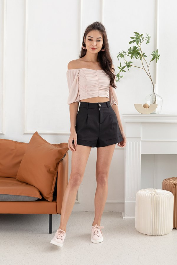 Delicacy of Drapes Ruched Blouson Top Nude