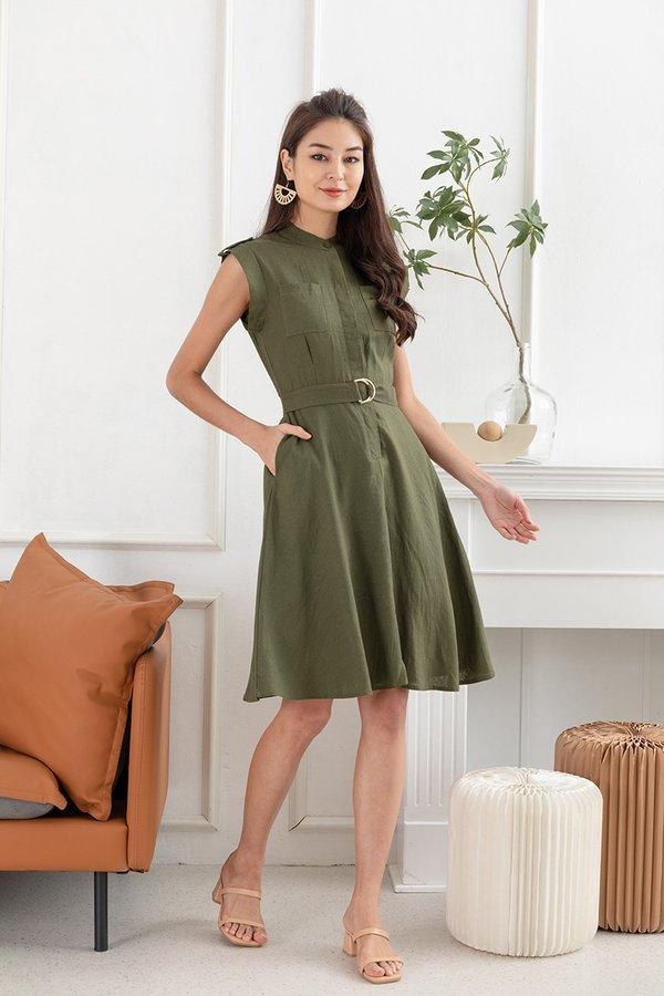 Utmost Linen Utility Button Shirt Dress Olive Green