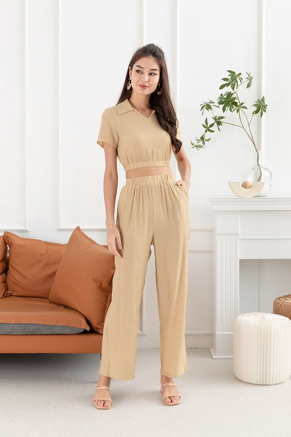 Lounging's the Limit Two Piece Pant Set Taupe