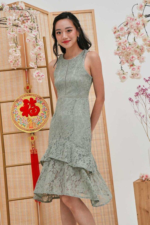Made to Mermaid Lace Dropwaist Midi Dress Sage Green
