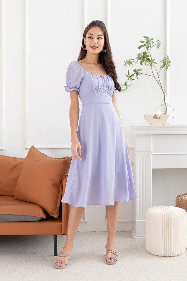 Spritely in Shirs Midi Dress Lilac