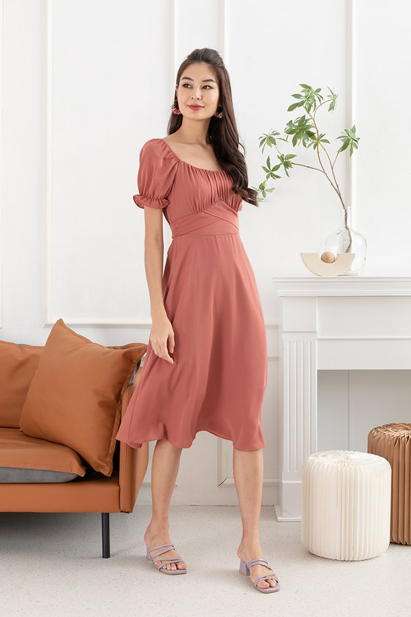 Spritely in Shirs Midi Dress Terracotta