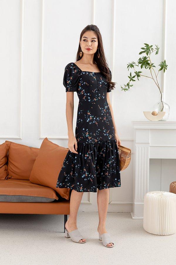 Dreamscape Debut Ruffle Hem Floral Dress Black