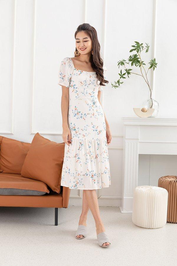 Dreamscape Debut Ruffle Hem Floral Dress White