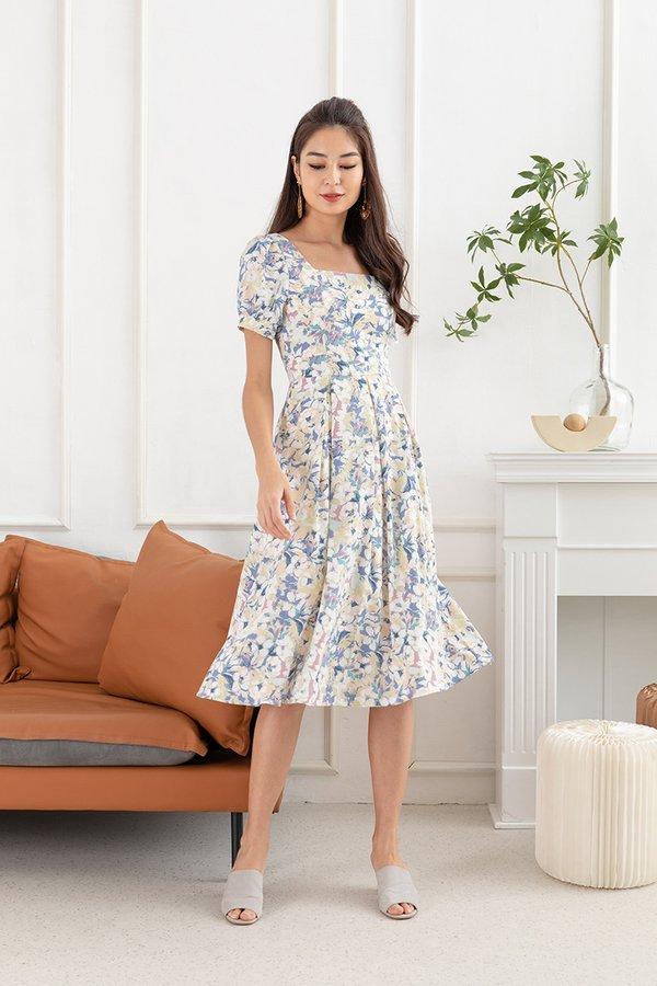 Prairie Much So Floral Midi Dress Blue