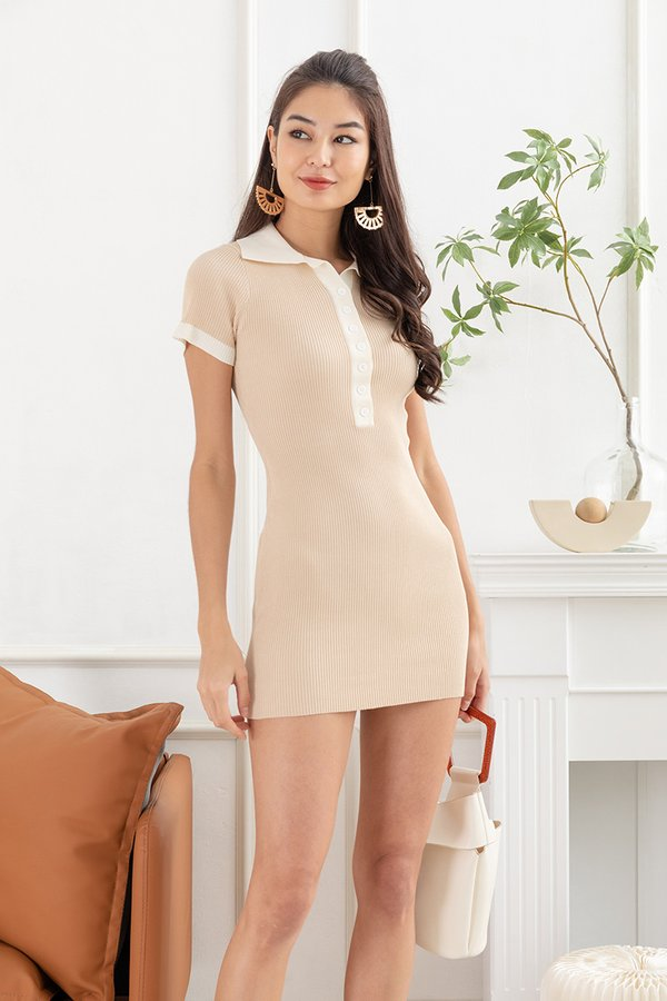 Sporty by Contrast Ribbed Knit Bodycon Tee Dress Almond